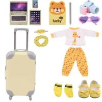 ใหม่สีเหลืองตุ๊กตาหมีเสื้อผ้ารองเท้าชุดกระเป๋าเดินทางสำหรับตุ๊กตาอเมริกัน18นิ้ว & 43ซม.เด็ก...