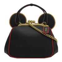 【COACH】迪士尼聯名款 限量米奇造型手提二用三層鍊包(黑)