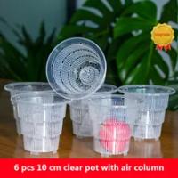 6 Pack Upgrade 10 cm Clear Orchid Pots Alocasia Nursery Pots with Air Column Transparent Pots Plastic Flower Pot with Air Holes