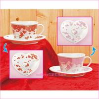 asdfkitty可愛家☆KITTY愛心造型陶瓷咖啡杯盤組-對杯組(粉紅色*1組+紅色*1組)-日本正版商品