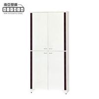 【南亞塑鋼】3尺直飾造型四開門防水塑鋼高鞋櫃(白色+胡桃色)