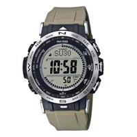 【CASIO 卡西歐】PRO TREK 系列太陽能數碼LCD無線電控攀山露營錶-卡其x50mm(PRW-30-5)