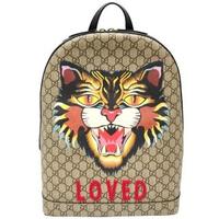 【GUCCI 古馳】419584 Supreme GG系列 Angry cat印花後背包(棕色)