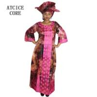 Dashiki Gaun Afrika Gaun untuk Wanita Bazin Riche Desain Bordir Dress Panjang