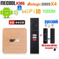 Mecool KM6 Deluxe ATV Android 10 Amlogic S905X4 AndroidTV 10.0 Google Certified Dual WiFi 6 1000M Media Player vs a95x f4