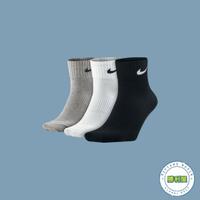 【滿額↘現折$200】【NIKE】NIKE LIGHTWEIGHT QUARTER SOCKS CREW 襪子 中筒襪 黑/白/灰 小LOGO 基本款 三色一組 男女尺寸【勝利屋】