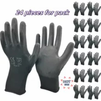 PU EN388 Nitrile Safety Coating Work Gloves Palm Coated Gloves Mechanic Working Gloves 12 Pairs