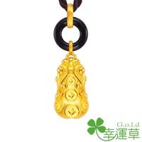 【幸運草金飾】豐財貔貅 瑪瑙+黃金 男墜(金重 1.54錢±0.07)