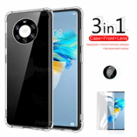 For Huawei Mate 40 Pro Case 3in1 transparent case For Huawei Mate40 Pro Plus Mate40Pro Mate 40 tempered glass camera phone cover