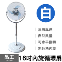 【晶工】16吋內旋循環扇 LV-1668 (白)