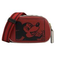 【COACH】迪士尼聯名 限量米奇寬背帶手拿斜背相機包(紅 小)