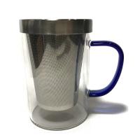 鋼蓋耐熱玻璃杯500ml【可以直火加熱】304不鏽鋼濾網泡茶杯 馬克杯 玻璃杯 咖啡杯