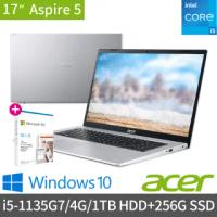 【贈M365】Acer A517-52-57N5 17.3吋雙碟效能筆電(i5-1135G7/4G/1TB HDD+256G SSD/Win10)