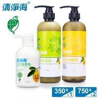 超值三入組【清淨海】檸檬系列環保沐浴組(沐浴乳+洗髮精+洗手乳)