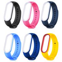 小米手環5 小米手環6 錶帶 小米手環 5 6 腕帶 充電線 保護貼 保護膜 撞色 雙色 矽胶手環腕帶 替換腕帶