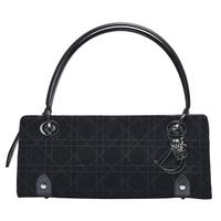 【Dior 迪奧】經典品牌LOGO墜飾麂皮手提包(黑CVC44590-BLK)