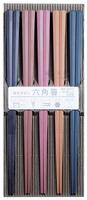 日本製SUNLIFE彩色耐熱防滑六角筷 (五雙入)