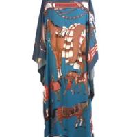 Ukuran Cetak Dubai Summer Sutra Kaftan Maxi Dress Dashiki Longgar Afrika Wanita Boho Pantai Long Gaun Pakaian Afrika