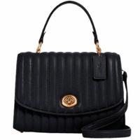 【COACH】Tilly黑色皮革立體壓紋掀蓋式手提郵差斜背包