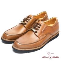 【CUMAR】英倫紳士 經典綁帶舒適皮鞋(棕色)