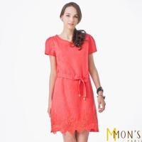 【MON'S】水洗亞麻造型收腰洋裝(100%亞麻)
