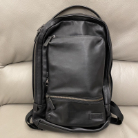 TUMI HARRISON 紳士皮革後背包 可放15吋筆電 全黑真皮 旅行商務型男必備🆕七成新購於專櫃