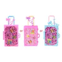 แฟชั่นกระเป๋าเดินทางตุ๊กตาอุปกรณ์เสริมของเล่นเด็กกระเป๋าเดินทางสำหรับตุ๊กตาบาร์บี้ BX0D