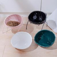 寵物碗 貓碗陶瓷碗防打翻架子護頸寵物食盆吃飯斜口碗【