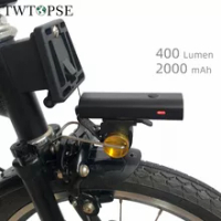 TWTOPSE 400 Lumen Bike Light With Rack For Brompton 3SIXTY PIKES Dahon Tern Crius Folding Bicycle V Brake Rainproof USB Lights
