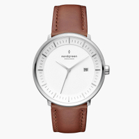 刷卡滿3千回饋5%點數|Nordgreen Philosopher哲學家 月光銀系列復古棕真皮腕錶40mm(PH40SILEBRXX)