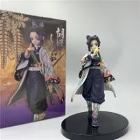 Demon Slayer Kochou Shinobu น่ารักยืนการ์ตูนสีเหลือง PVC Action Figure Kimetsu ไม่มี Yaiba Tanjirou Nezuko ของเล่น15ซม