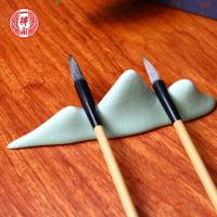 毛筆架 一得閣文房四寶陶瓷黑貓白貓動物筆擱 山形筆架陶瓷置筆書法作畫用品『CM1305』