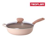 【NEOFLAM】Sherbet蜜桃雪酪系列 30cm炒鍋含玻璃蓋(IH適用/不挑爐具/可直火)