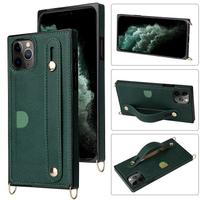 簡約iPhone12 Pro Max保護殼 歐美皮套蘋果12 Pro手機套 防摔蘋果12 mini保護套 腕帶純色IPhone 12手機殼