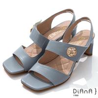 【DIANA】6.7cm質感羊皮方頭寬板金屬釦魔鬼氈露趾高跟涼鞋(灰藍)