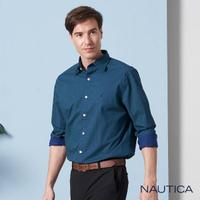 【NAUTICA】撞色普普風長袖襯衫(深藍)