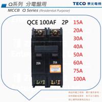 TECO 東元 QCE 100AF 無熔絲斷路器 無熔絲開關 NFB MCCB 2P