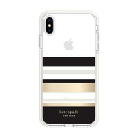 【KATE SPADE】iPhone XS/X 5.8吋 手機防摔保護殼/套(黑金條紋)