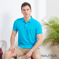 【NAUTICA】清新亮色吸濕快乾短袖POLO衫(湖水藍)