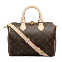 【Louis Vuitton 路易威登】M41113 經典Monogram SPEEDY 25 手提/斜背波士頓包