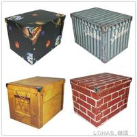 收納盒紙質檔收納箱玩具衣服整理箱有蓋摺疊裝書紙盒儲物箱子