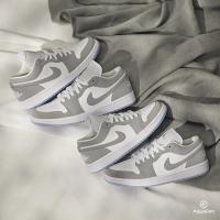 【NIKE 耐吉】W Air Jordan 1 Low 男女 休閒鞋 White Wolf Grey 灰白 DC0774-105(小Dior AJ1 低筒)