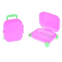 1Pcs พลาสติก3D รถไฟเดินทางกระเป๋าเดินทางสำหรับตุ๊กตาบาร์บี้ของเล่นเด็กเล่น House สีชมพู