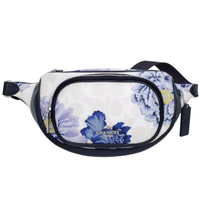 【COACH】x Kaffe藝術印花前拉鍊袋腰包(白色C紫藍花印/小款)