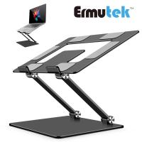 【Ermutek】鋁合金雙軸摺疊式筆電支架平板支架/NB筆記本電腦散熱架/可攜式多用途筆電增高架(深灰色011-DG)