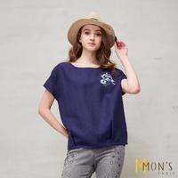 【MON'S】貼繡棉麻上衣