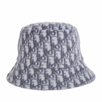【Dior 迪奧】新款雙面DIOR CHIC 柔軟羊毛雙層花色漁夫帽(灰色/57)