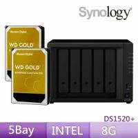 【搭WD 金標 8TB x2】Synology 群暉科技 DS1520+ 5Bay 網路儲存伺服器