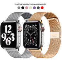 Milanese Loop สำหรับ Apple Watch Band 6 SE 5 4 44มม.42มม.สร้อยข้อมือสายรัดข้อมือโลหะของ IWatch Series 1 2 3 38มม.40M