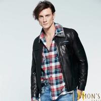 【MON'S】羔羊毛領飛行員皮衣夾克外套(100%羊皮)